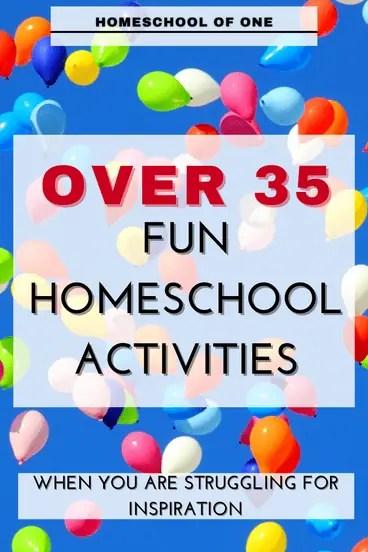 Over 35 fun homeschool activities