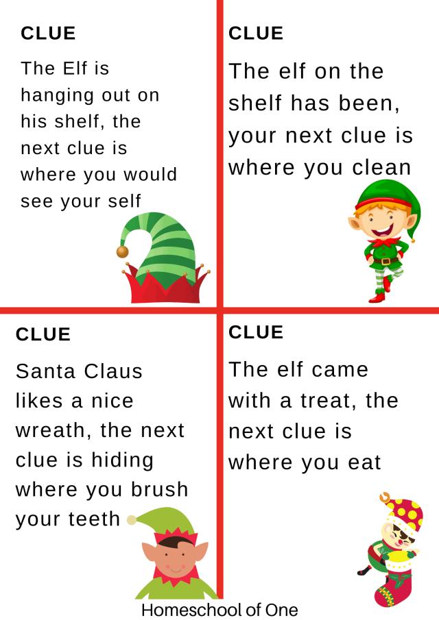 elf on the shelf treasure hunt clues
