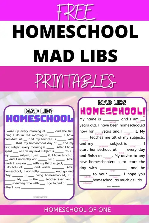 Homeschool mad libs, back to school mad libs perfect for your first day of homeschool. Free printable