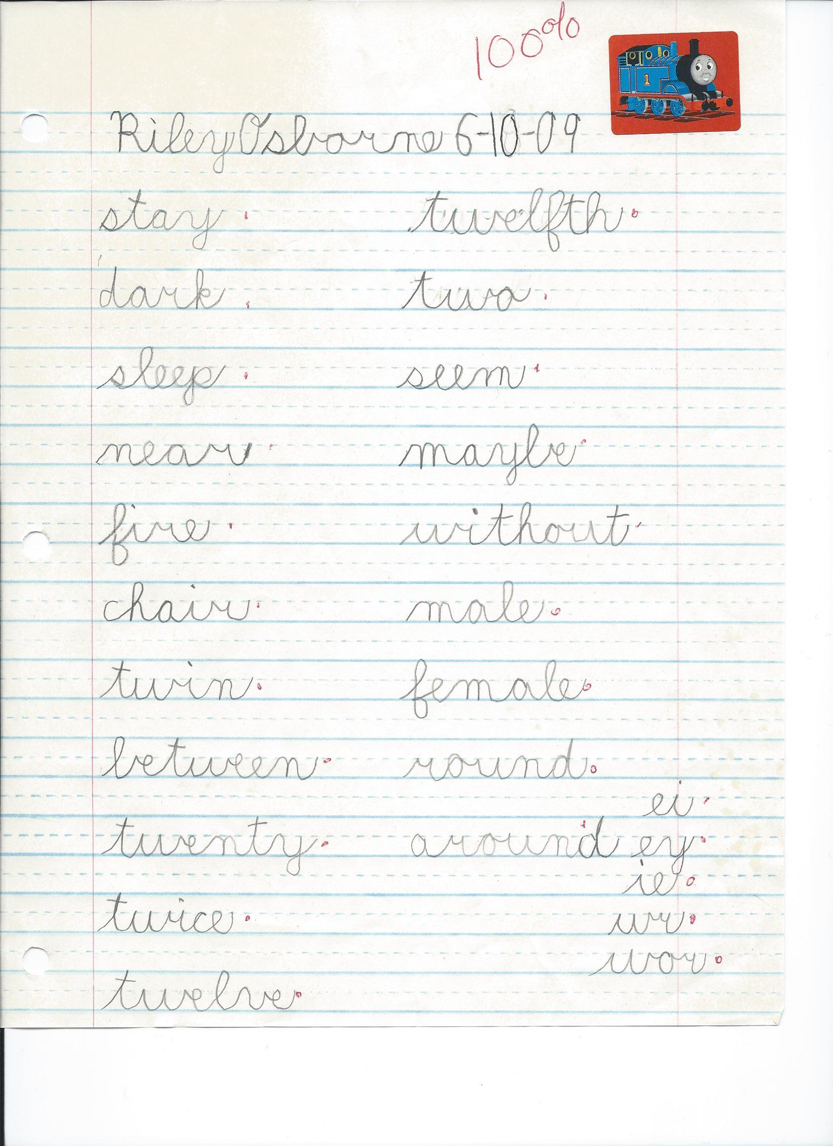 Cursive Spelling Test 6 10 09