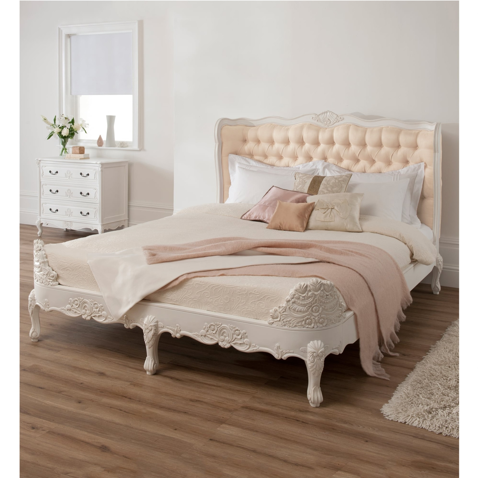White Baroque Upholstered Bed Hand Carved Antique French Furniture