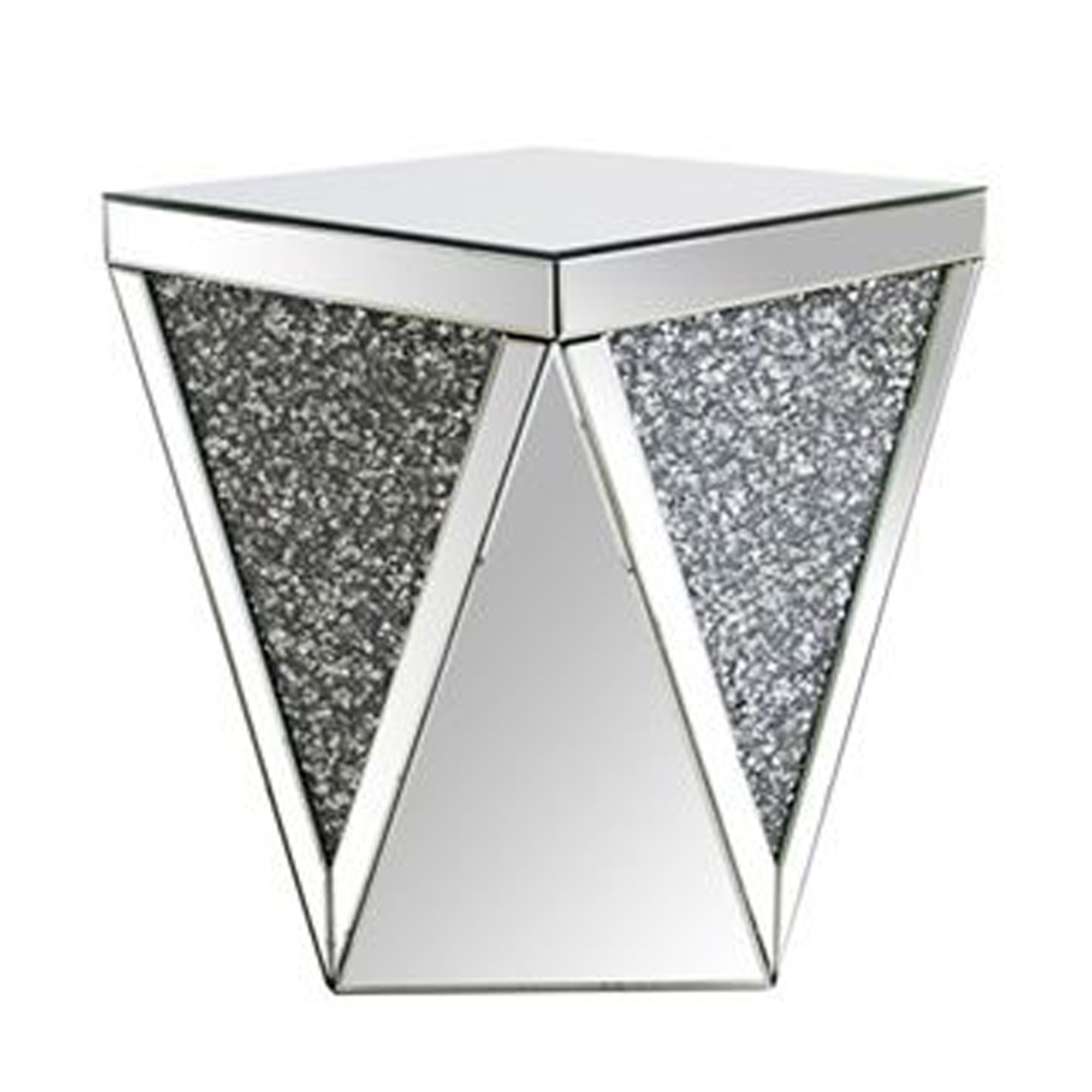 crushed diamond glass end table
