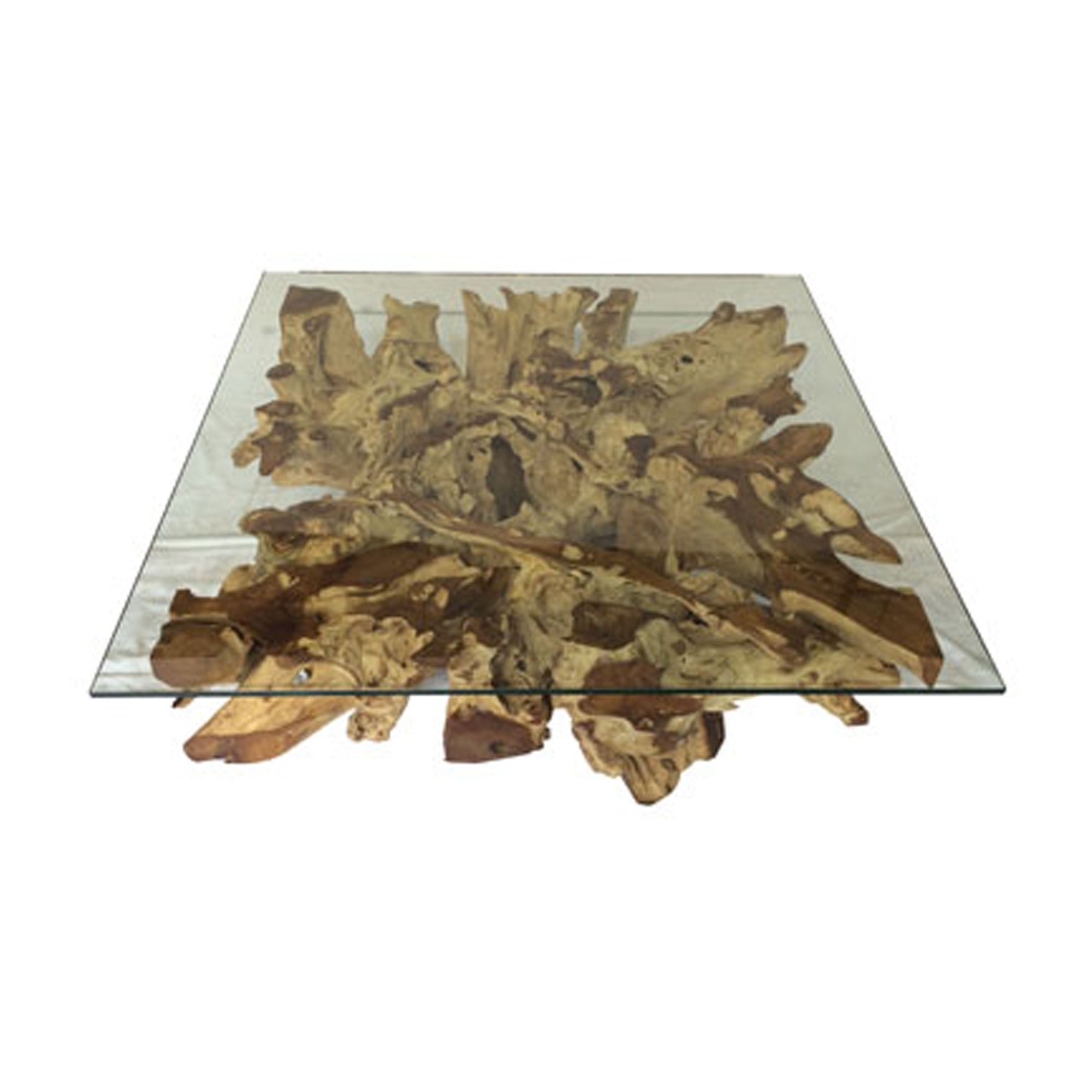 driftwood and glass square coffee table teak root spider stone large