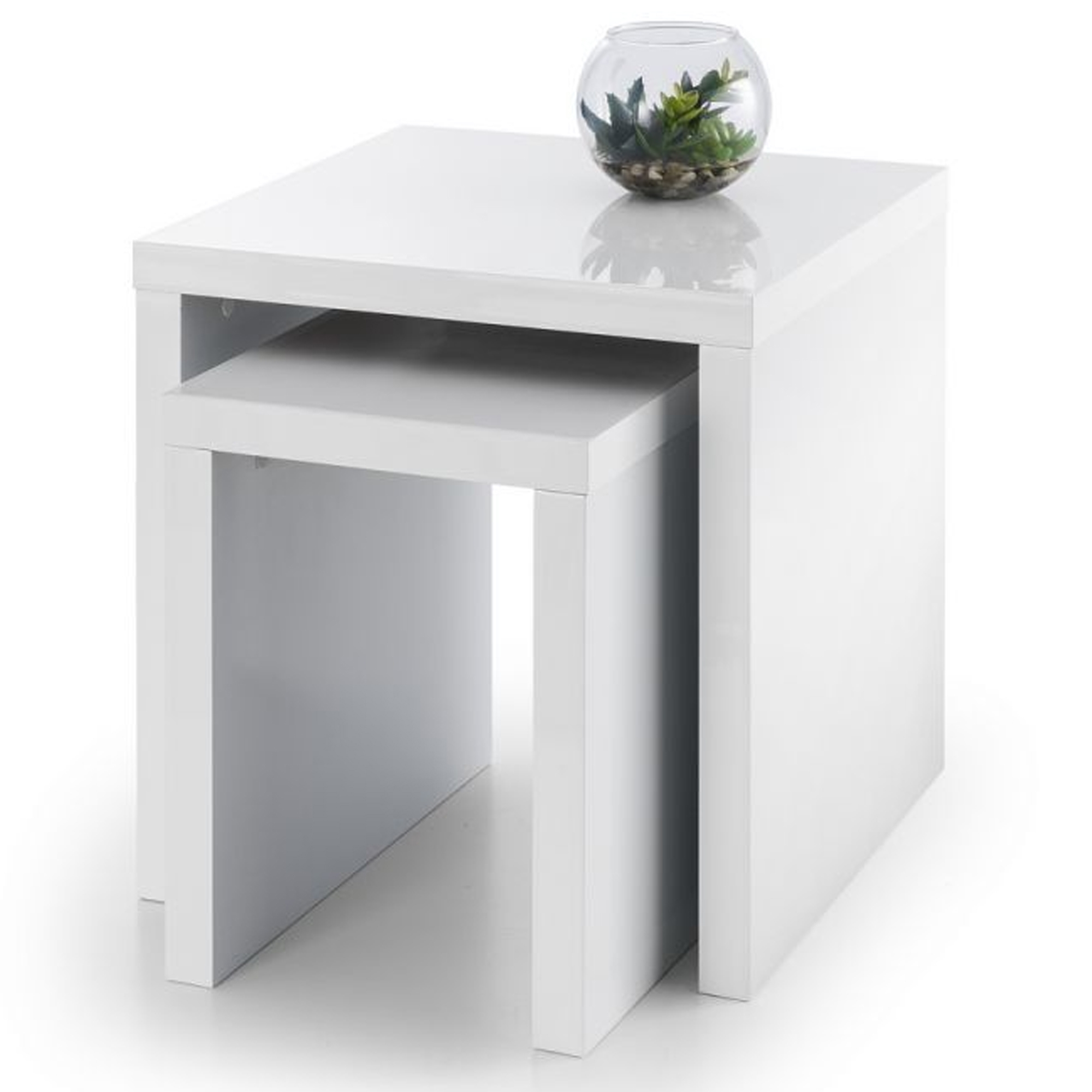 White Metro High Gloss Nest Of Tables Modern Contemporary Nests