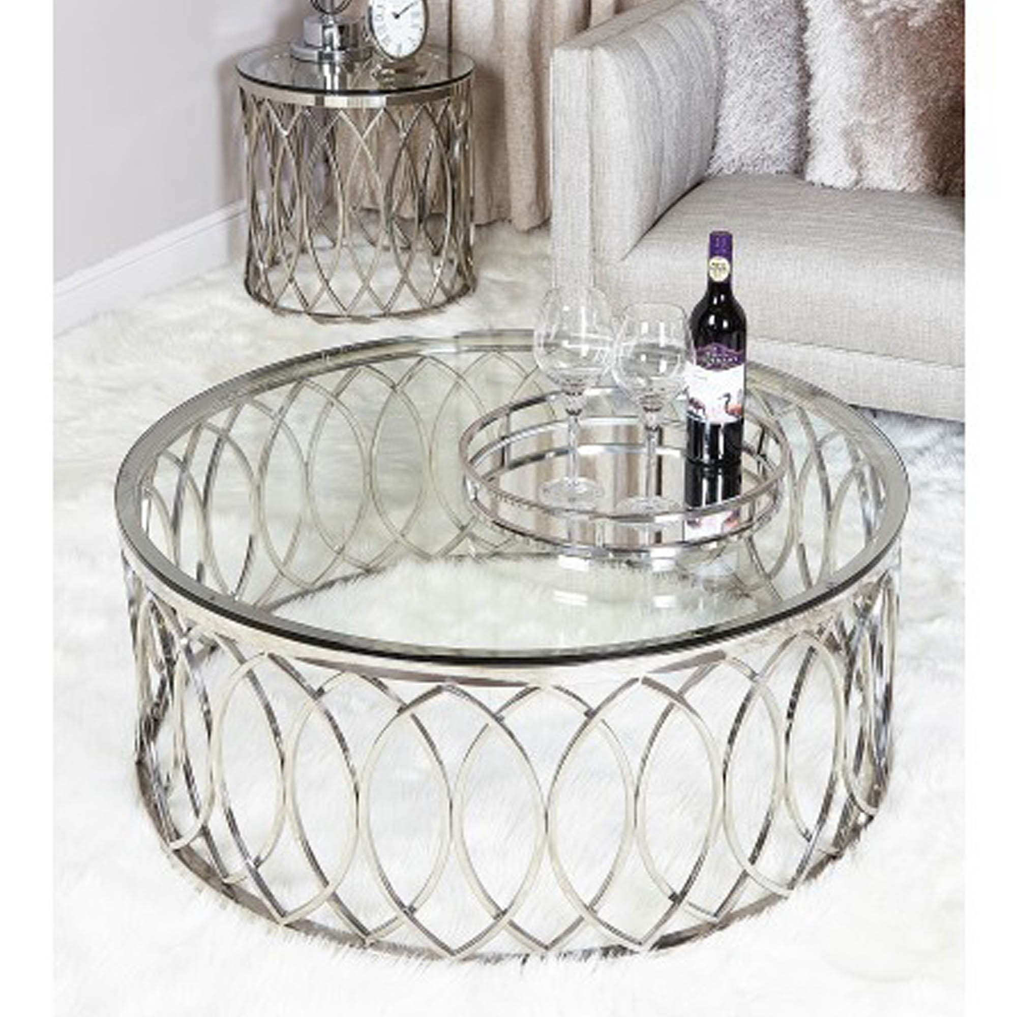 willow chrome coffee table