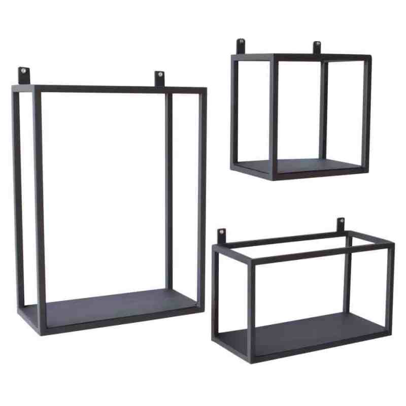 stoere industriele Metalen wandrek set van 3 | Urban interiors | Wandboxes metal