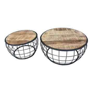 Bijzettafel Mango set draadstaal hout tafel | homeseeds.nl