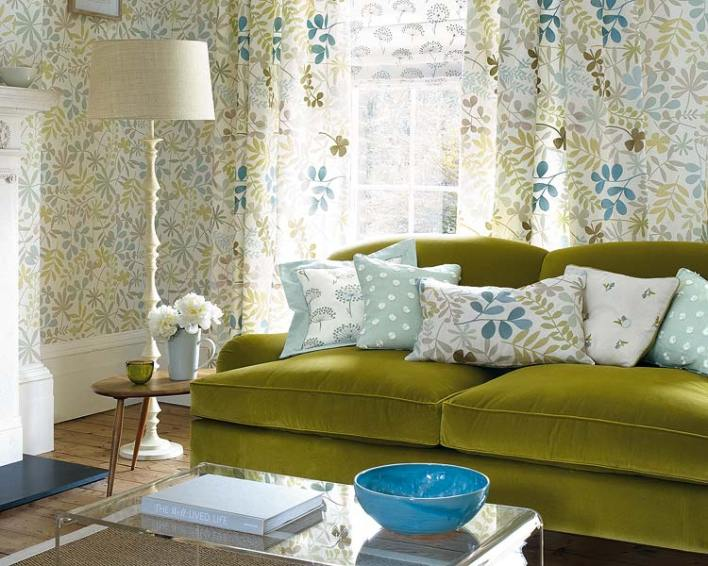 Matching Curtains Wallpaper And Cushions Curtain Designs