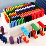 Wooden Domino Blocks Building Toy Kits Color Sort Rainbow Dominoes Games Educational Wood Block Toys For Children Kids Gifts