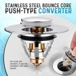 Bounce Core Pop-up Drain Filter Bathroom Stainless Steel Bounce Core Push-type Hair Stopper Basin Pop-up Drain Filter