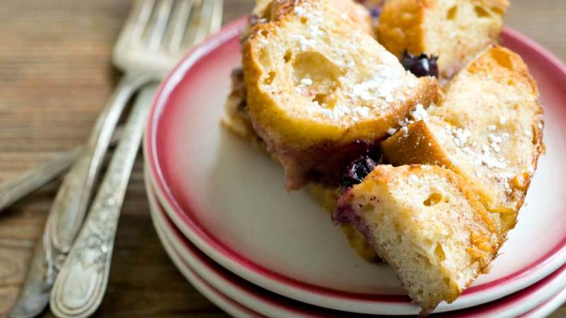 French toast casserole with blueberries and sausage   Homesick Texan