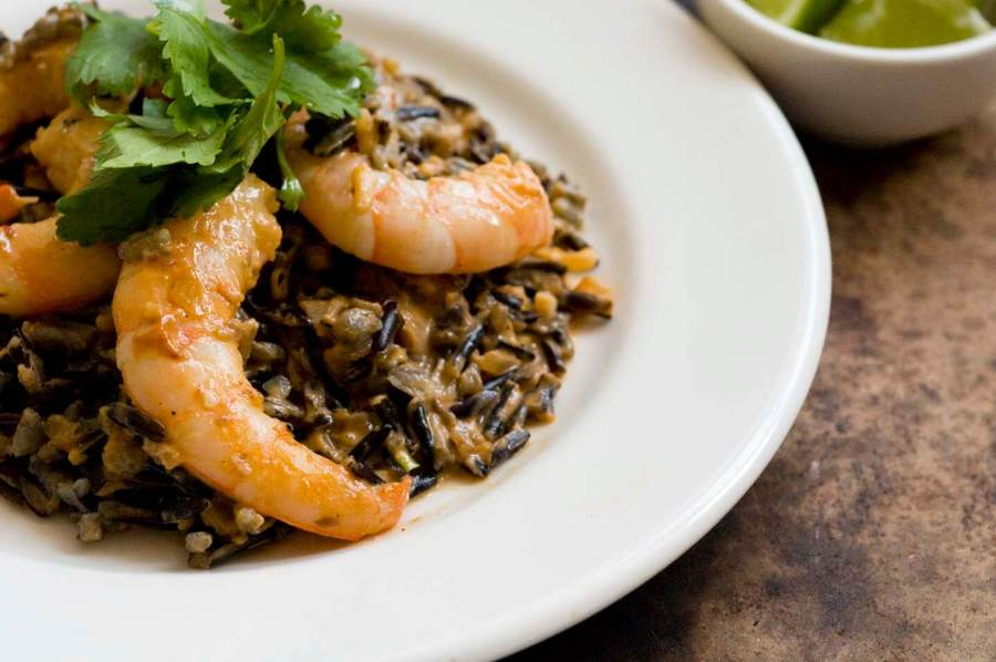 Creamy chipotle shrimp with mushrooms and wild rice | Homesick Texan
