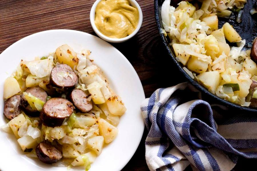 Sausage, potato, and cabbage skillet fry | Homesick Texan