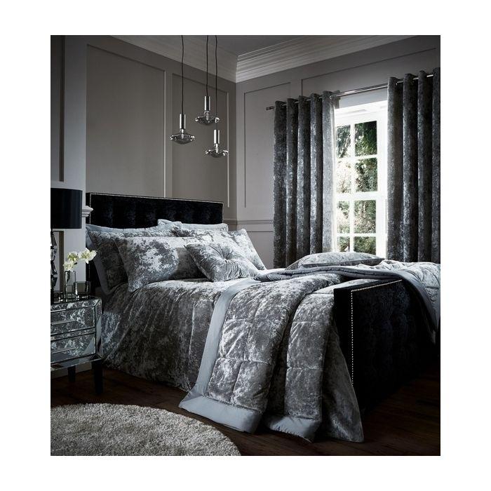 catherine lansfield crushed velvet bedding set silver
