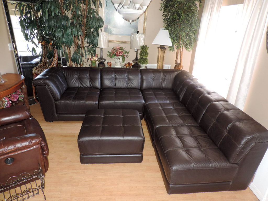 Macy S Stacey Six Piece Modular Dark Brown Leather Tufted