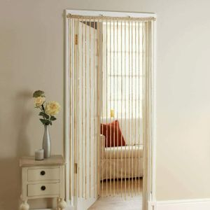 wooden beaded door curtain on white door frame