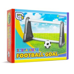 inflatable football goal in box, silver and white goal