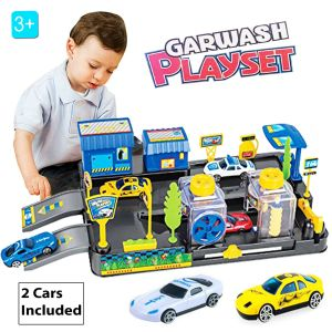 child playing with the toy carwash set
