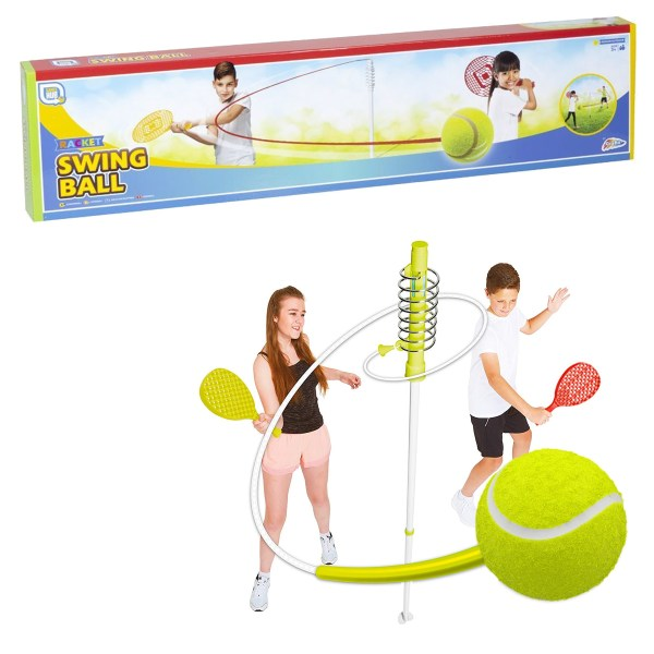 children playing swingball tennis