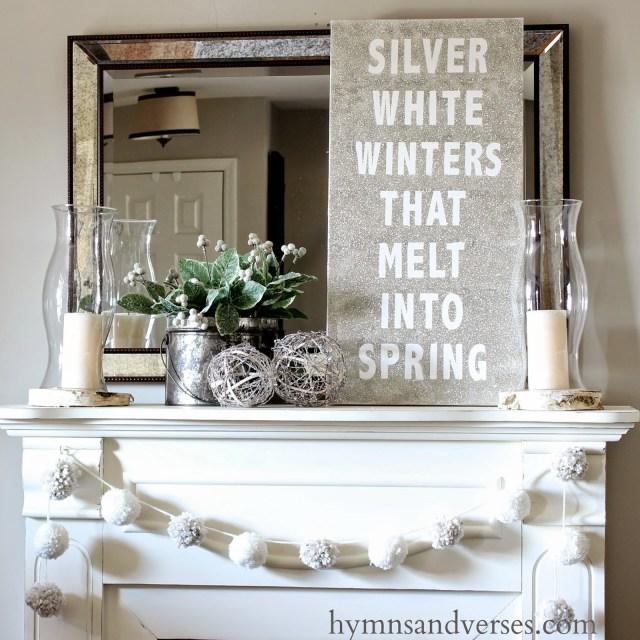 Winter Mantel And Winter Shelf Decorating Ideas