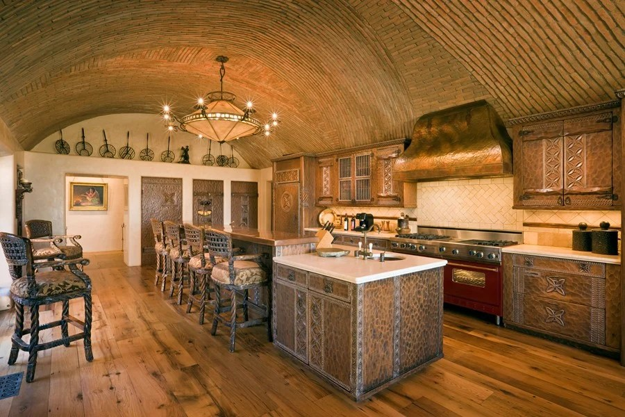This Rustic Mediterranean Kitchen Has A Barrel Vaulted Ceiling Which Provides E For Hot Air