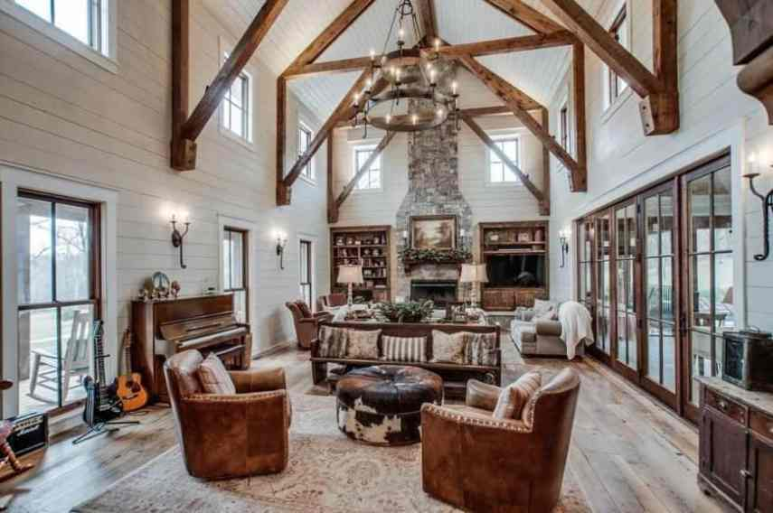 15 Luxury Living Room Designs  Stunning  Huge rustic living room with massive wood beams  rustic furniture and large  stone fireplace