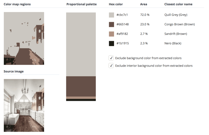 Beige combined with white, brown and a touch of grey and black.