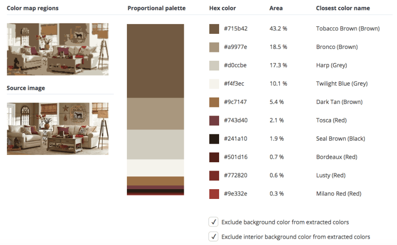 Beige combined with brown, red, and a few touches of black and grey.