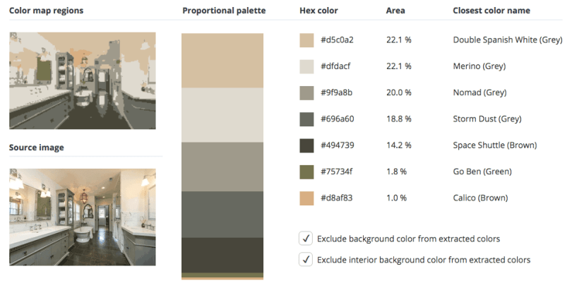 Beige combined with grey, brown and a touch of green.