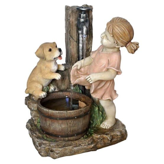 A decorative, statue fountain perfect for outdoor use.