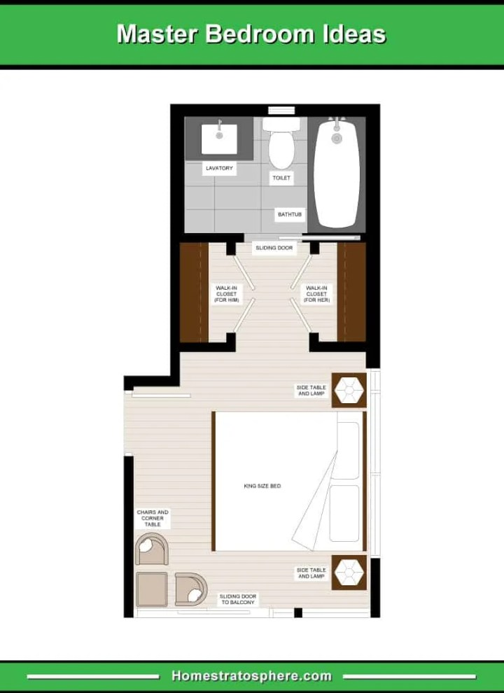 Long And Narrow Master Bedroom Layout With A Seating Area 2 Walk In Closets For Him Her En Suite Bathroom