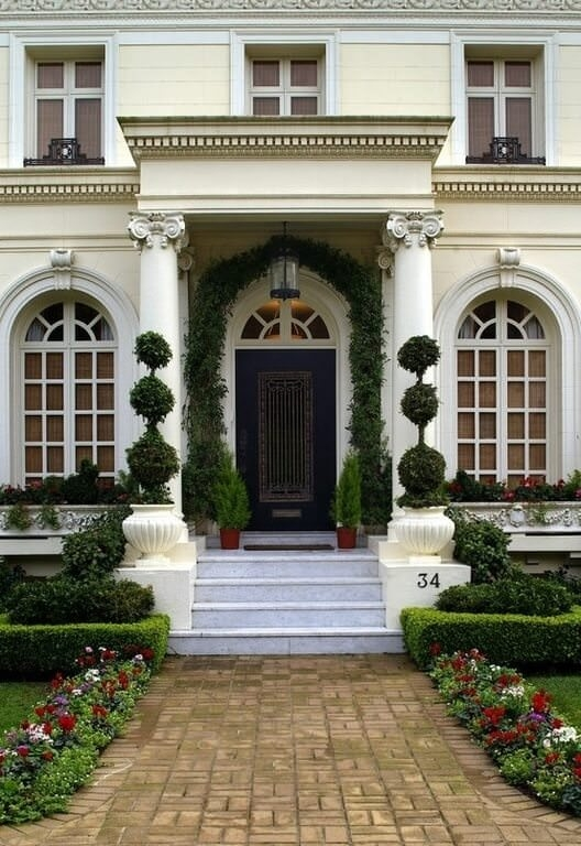 58 Types Of Front Door Designs For Houses Photos   Home Front Staircase Design   Front Side Arch   Outer Wall   Outside Stair   Elevation Lighting   Wooden Stair