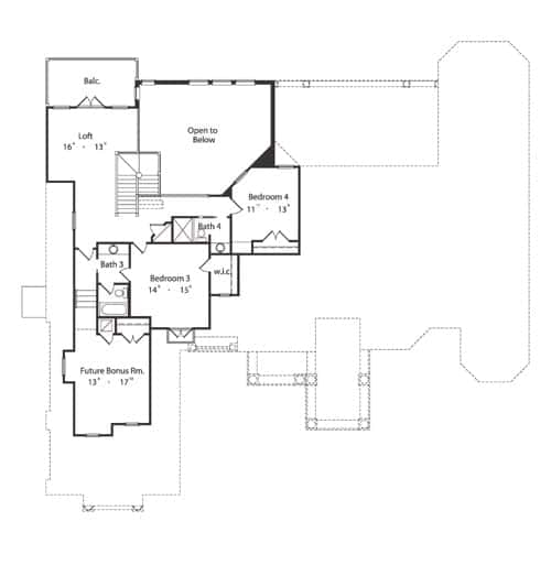 İki yatak odası, gelecekteki bonus odası ve balkonlu bir çatı katı içeren ikinci kat planı.