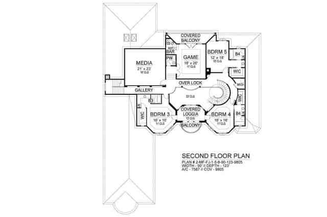 Üç yatak odası, medya odası, oyun odası ve balkonlu kapalı bir sundurma içeren ikinci kat planı.