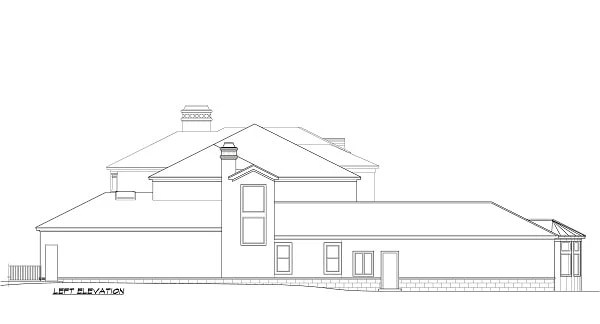 İki katlı 5 yatak odalı Cordillera İspanyol evinin sol cephe çizimi.