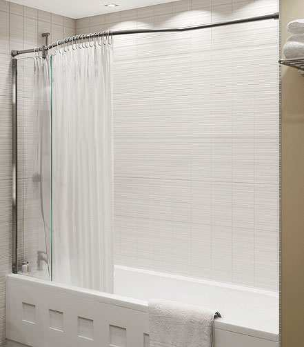 kudos inspire over bath shower panel with shower curtain rail recess