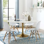 Lippa 60 Round Artificial Marble Dining Table With Rose Gold Base