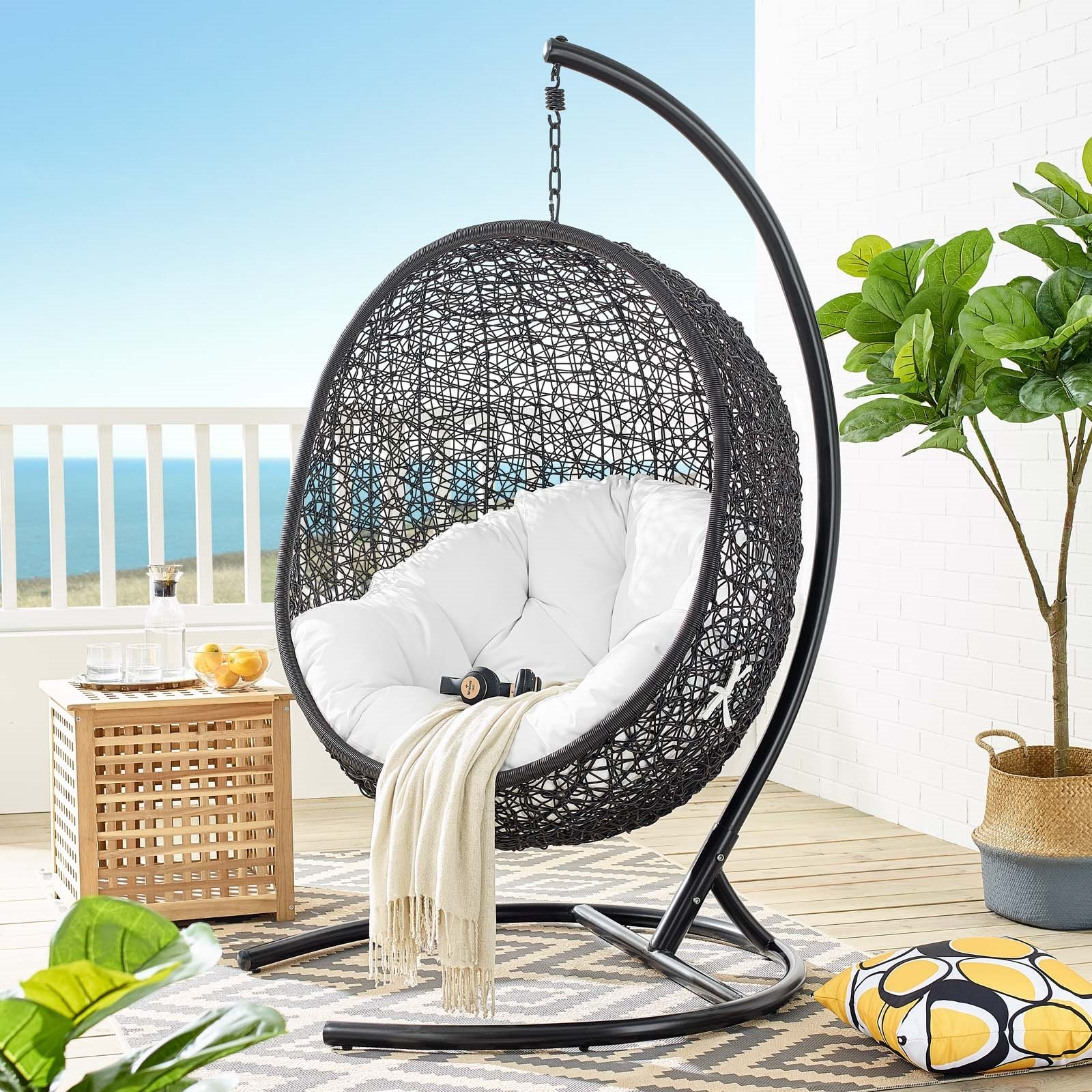 encase swing outdoor patio lounge chair white