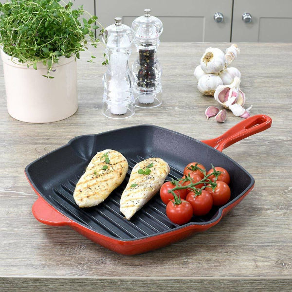 ProCook Cast Iron Enamel Induction Square Griddle Pan Review - Best premium griddle pan