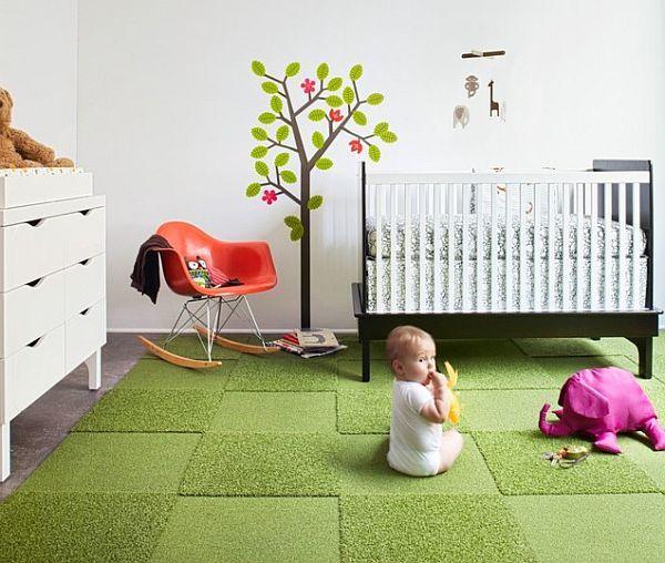 Child-Room-With-Green-Carpet-Tile-Rug