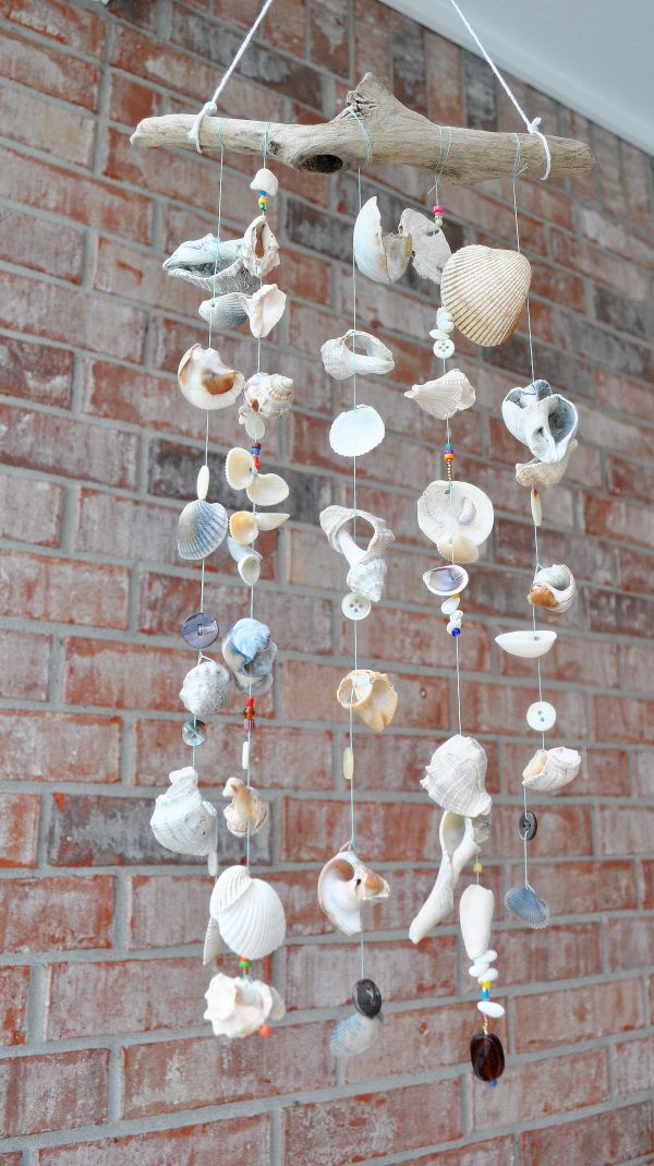 Driftwood and seashell wind chime