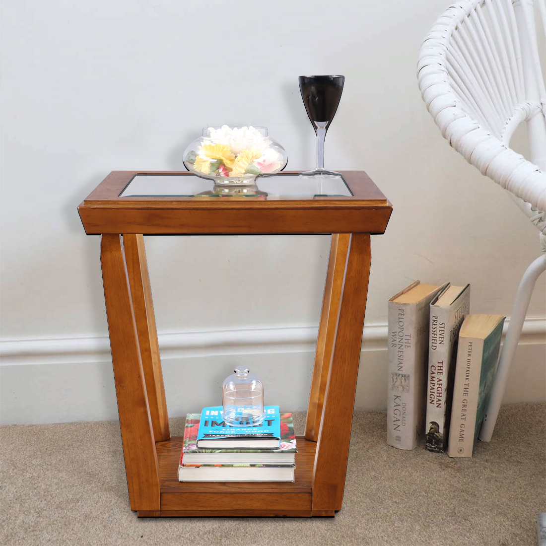 Herman Solid Wood Glass Top Side Table In Brown Colour By Hometown