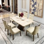 Buy Alston Marble Six Seater Dining Set In Ivory Color By Hometown Online At Best Price Hometown
