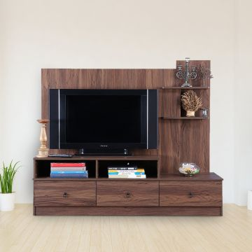 Buy Nicole Engineered Wood Tv Unit In Walnut Color By Hometown Online At Best Price Hometown