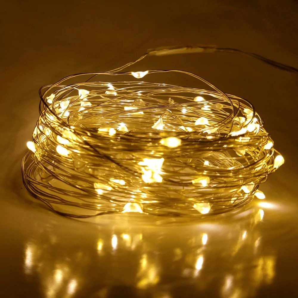separation shoes ddc36 923e9 33 Foot - Plug in LED Fairy Lights- 100 Yellow Micro LED Lights on Silver  Wire - Hometown Evolution Inc.