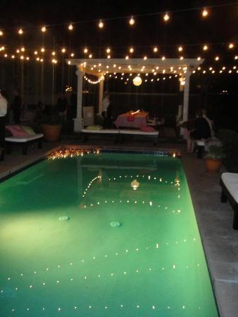 pool enclosure string lights pool