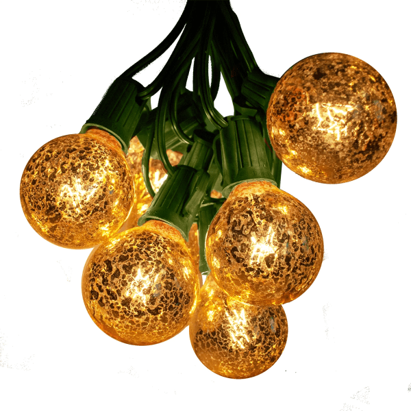 g50 gold bulbs on green wire