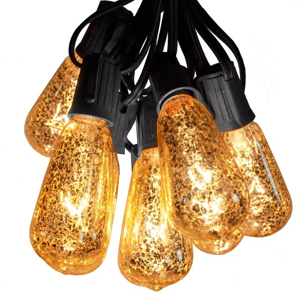 ST 40 Gold Bulbs on Black Wire