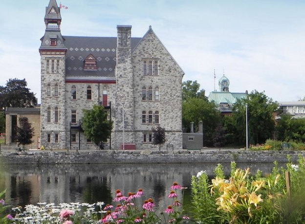 Mississippi Mills town hall across the water.