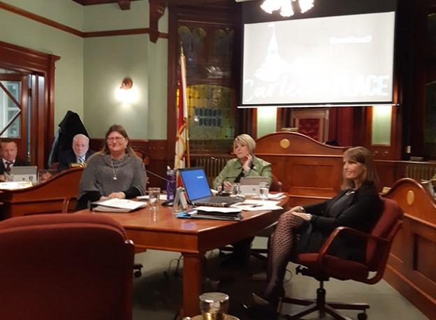 Town Treasurer Trisa McConkey, Councilor Theresa Fritz, Town CAO Diane Smithson